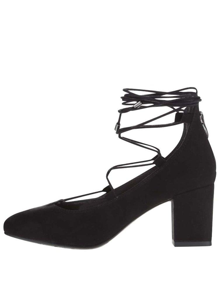Pantofi negri cu aspect de piele întoarsă Tamaris