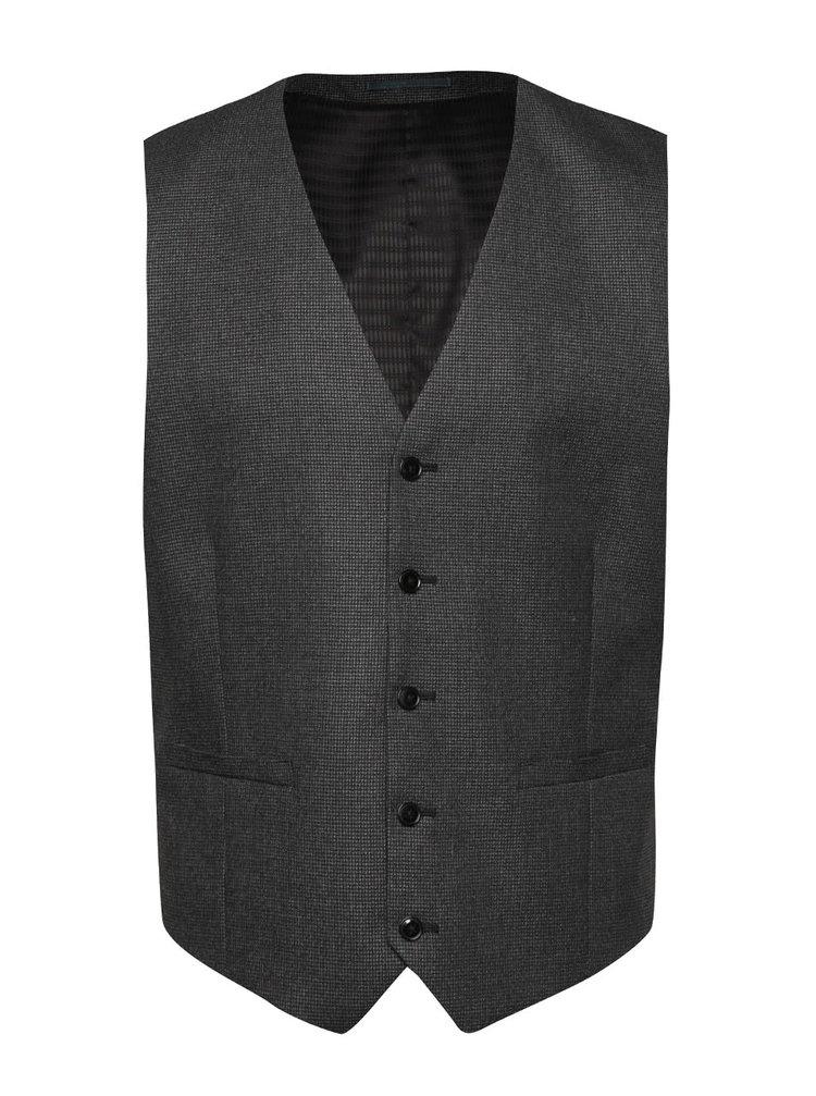 Tmavosivá vzorovaná obleková vesta Burton Menswear London