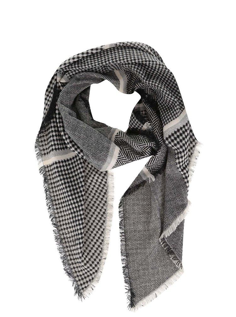 Krémovo-čierny vzorovaný šál Dorothy Perkins