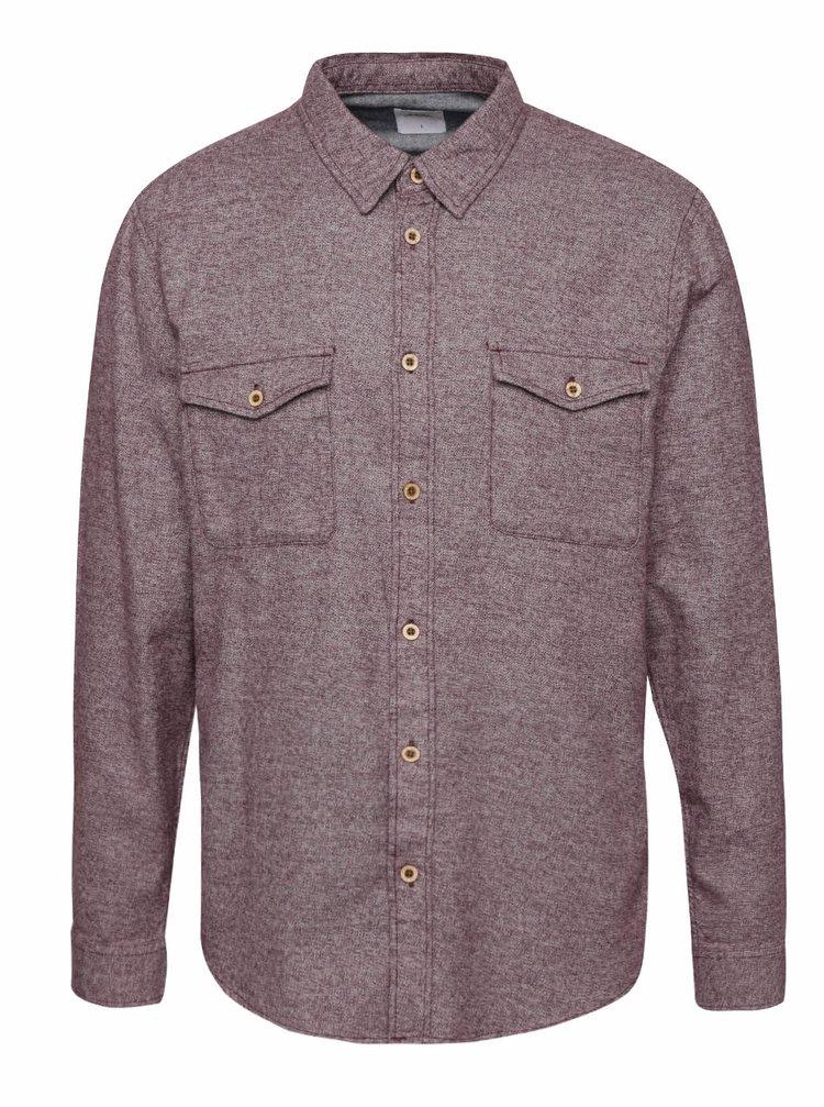 Fialová melírovaná košeľa s vreckami Burton Menswear London