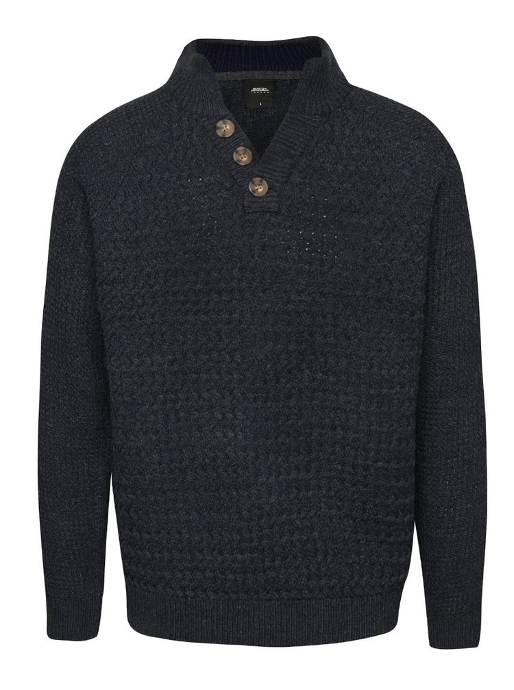 Tmavě modrý svetr s knoflíky u krku Burton Menswear London