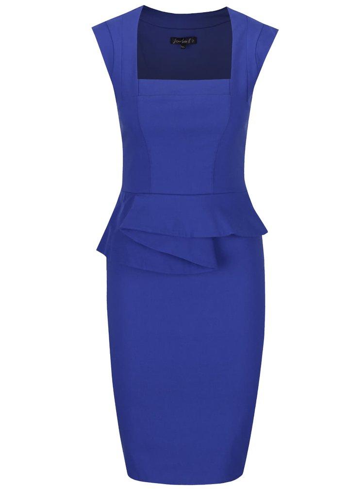 Modré pouzdrové šaty s volánkem Dorothy Perkins