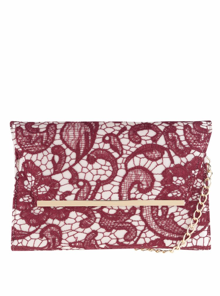 Krémová listová kabelka s vínovou čipkou Dorothy Perkins