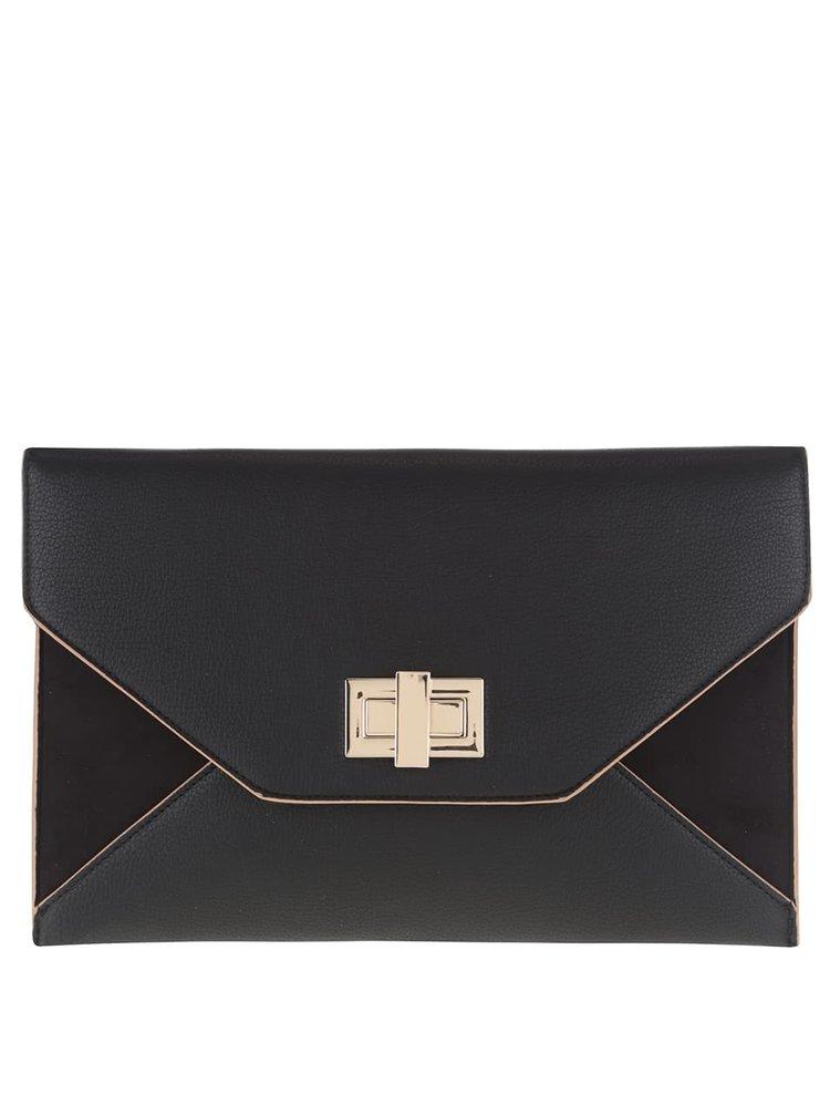 Černé psaníčko s kovovým zapínáním ve zlaté barvě Dorothy Perkins