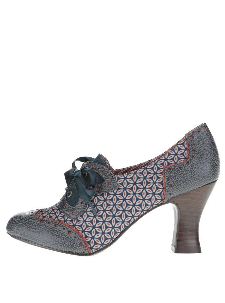 Modré vzorované boty se šněrováním Ruby Shoo Daisy