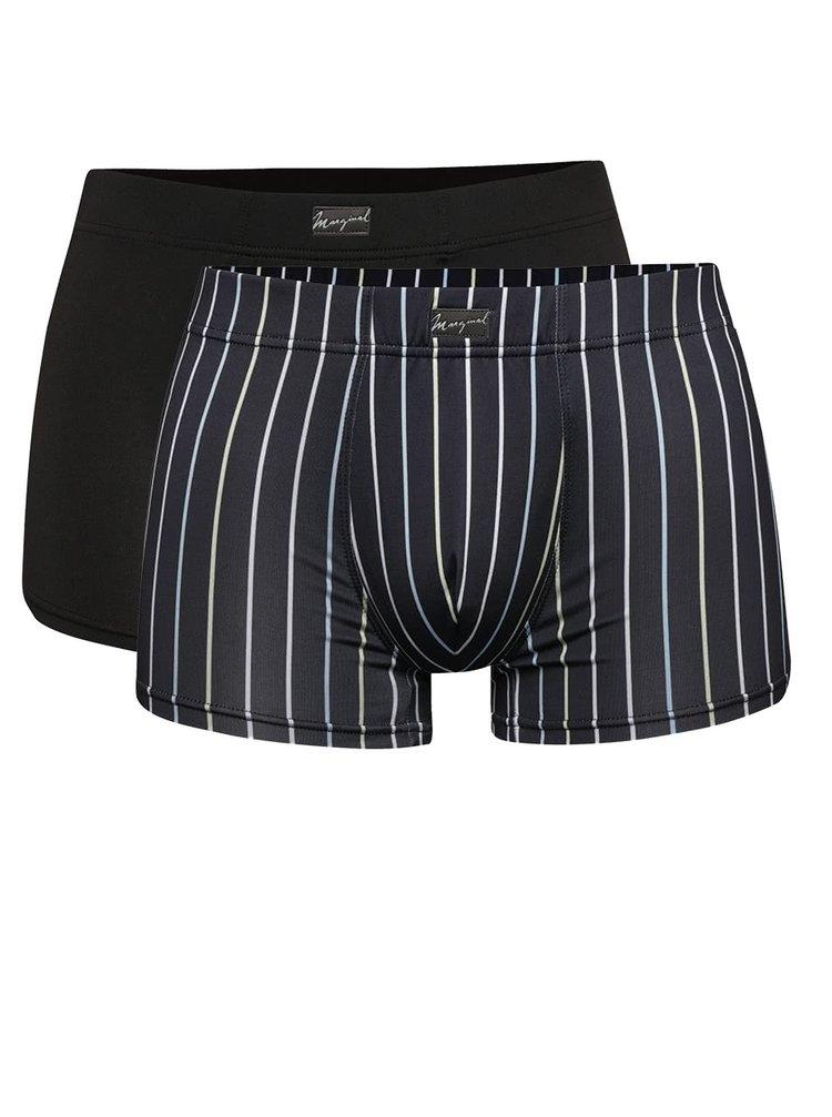 Sada dvou černých a tmavě modrých pruhovaných boxerek Marginal