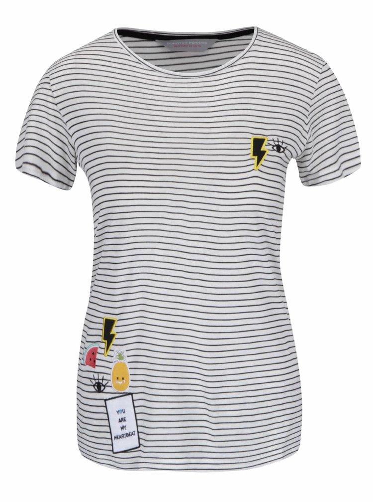 Čierno-krémové pruhované tričko s nášivkami Dorothy Perkins Petite