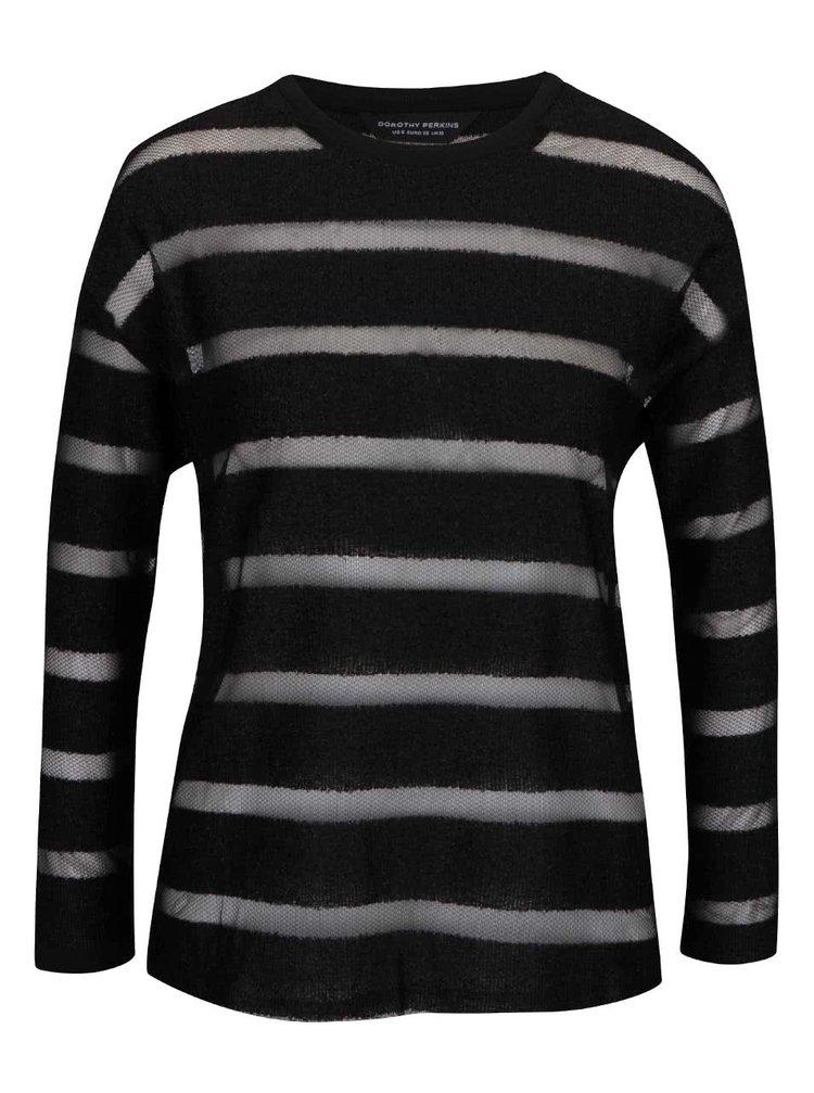 Bluză neagră  Dorothy Perkins cu dungi transparente