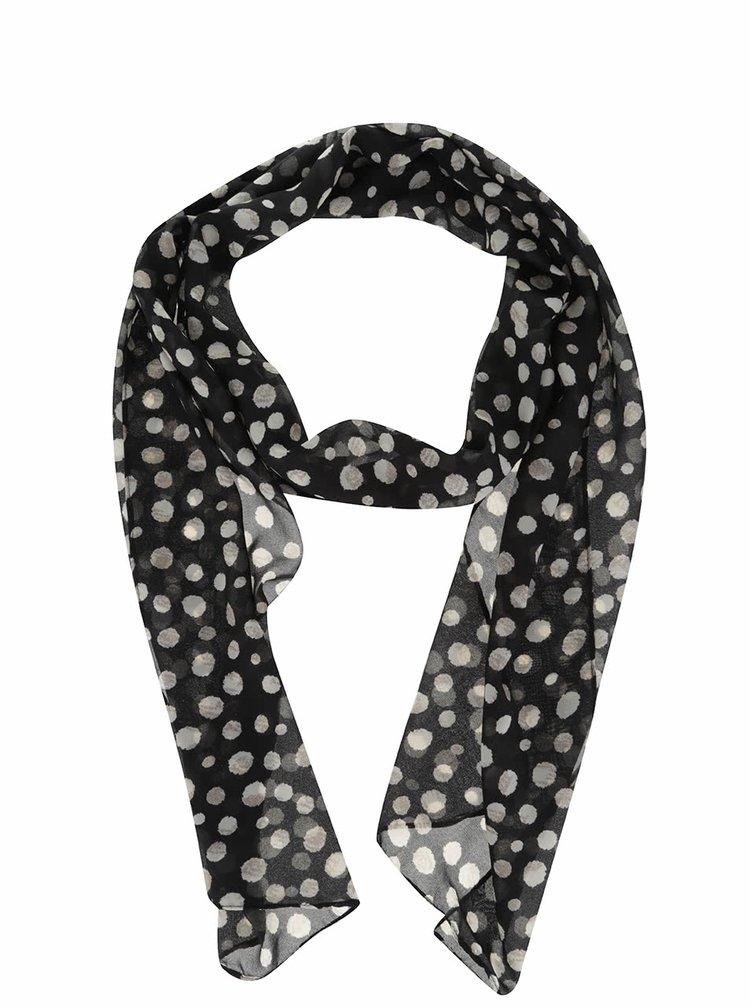 Černý šátek s krémovými puntíky Dorothy Perkins