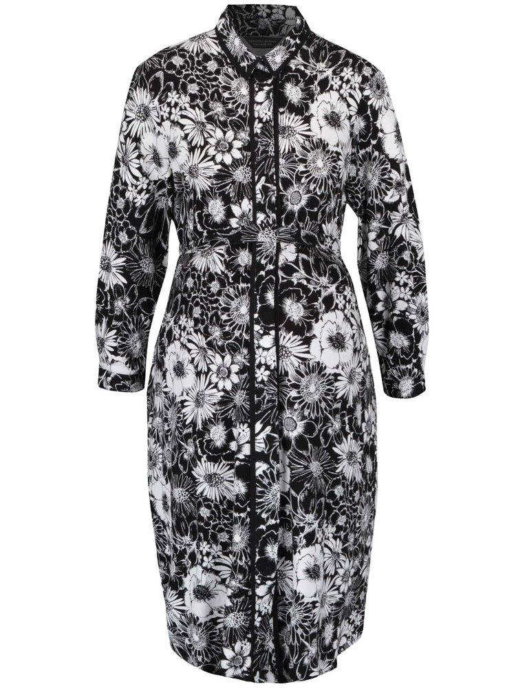 Krémovo-černé těhotenské květinové propínací šaty Dorothy Perkins Maternity