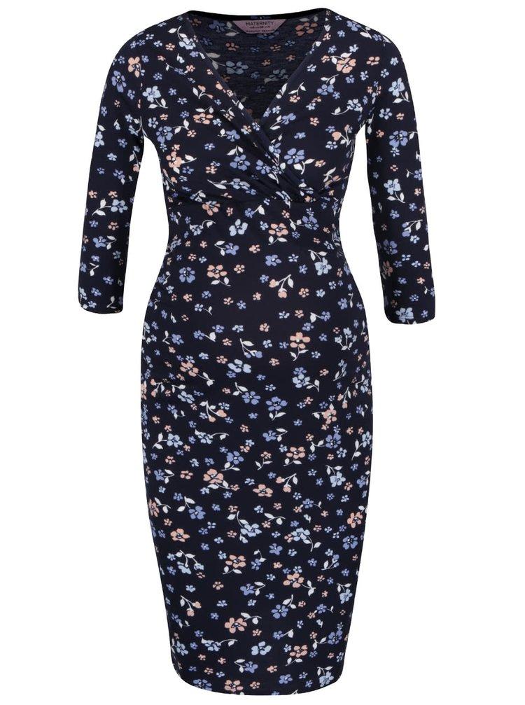 Modré tehotenské šaty s prekladaným výstrihom Dorothy Perkins Maternity
