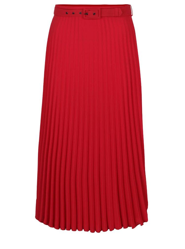 Červená skládaná delší sukně s páskem Dorothy Perkins