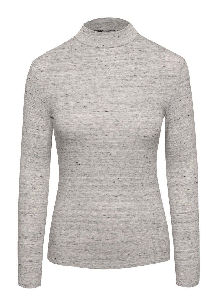 Sivé melírované tričko s nízkym rolákom TALLY WEiJL
