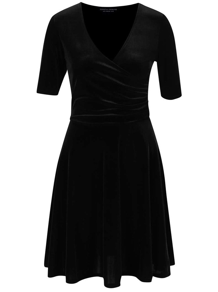 Čierne zamatové šaty s prekladaným výstrihom Dorothy Perkins
