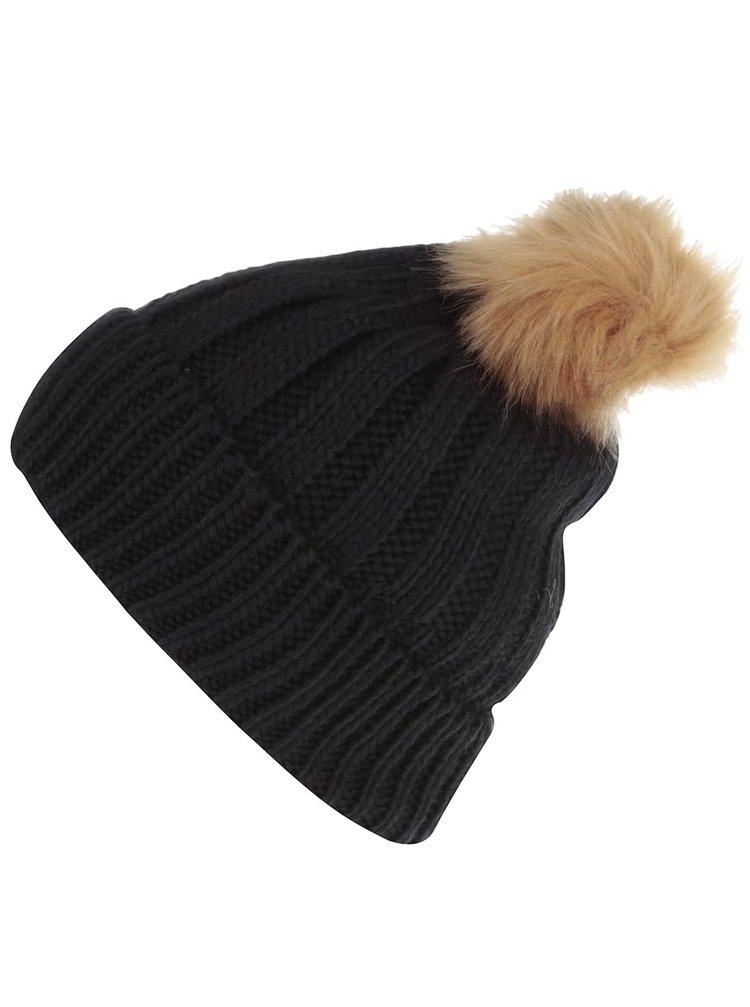 Čierna čapica s hnedým brmbolcom TALLY WEiJL
