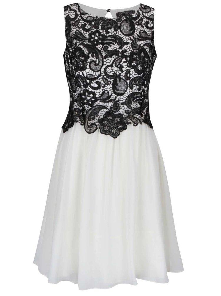 Krémové šifónové šaty s čiernym čipkovaným topom Dorothy Perkins