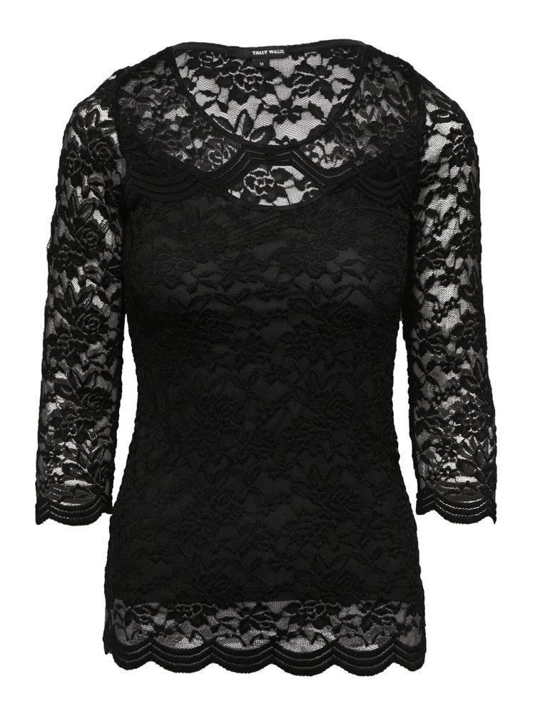 Černé krajkové tričko s 3/4 rukávem TALLY WEiJL