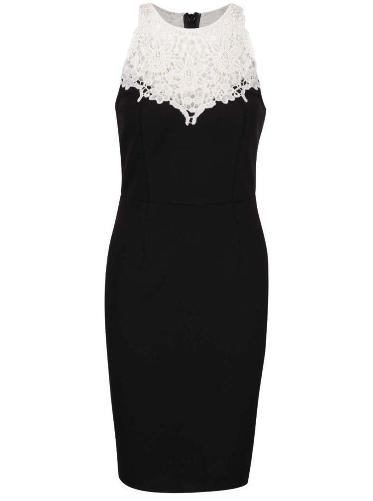 Čierne mini šaty s čipkovaným dekoltom Dorothy perkins