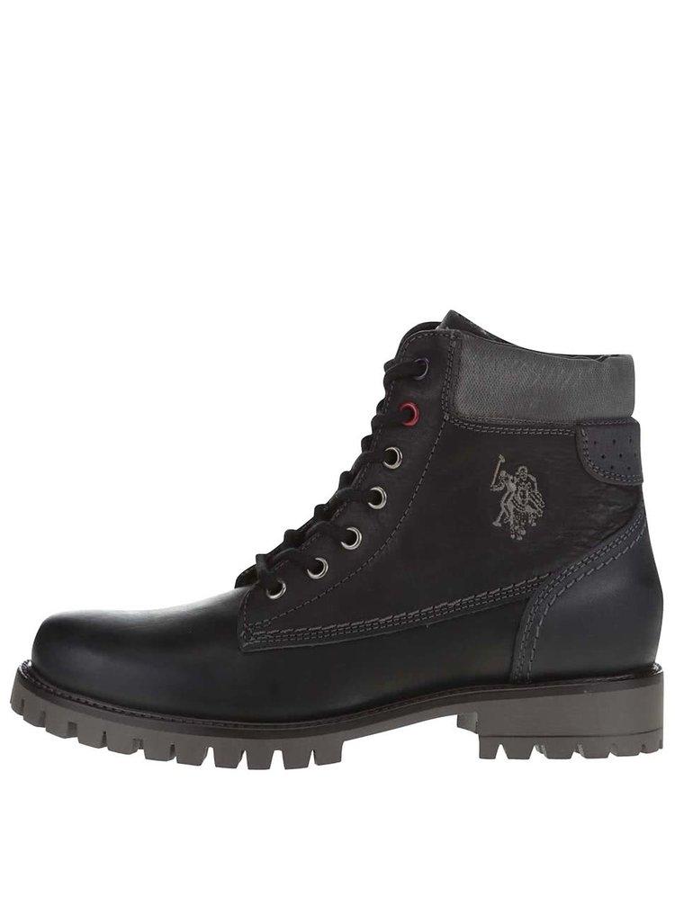 Čierne dámske kožené členkové topánky U.S. Polo Assn. Paige