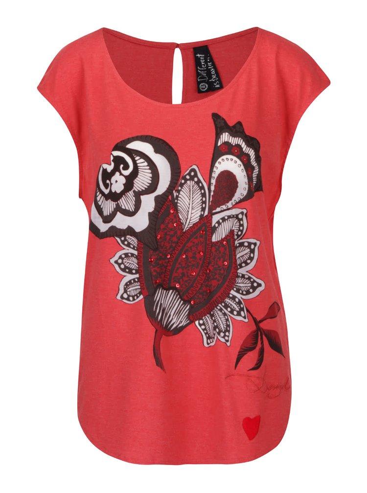 Tricou roșu cărămiziu cu imprimeu floral Desigual Cascadia