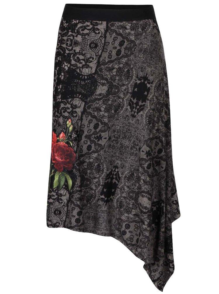 Černo-šedá vzorovaná sukně s květinou Desigual Piedad