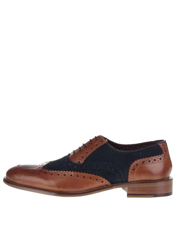 Pantofi oxford maro - albastru Gatsby London Brogues din piele