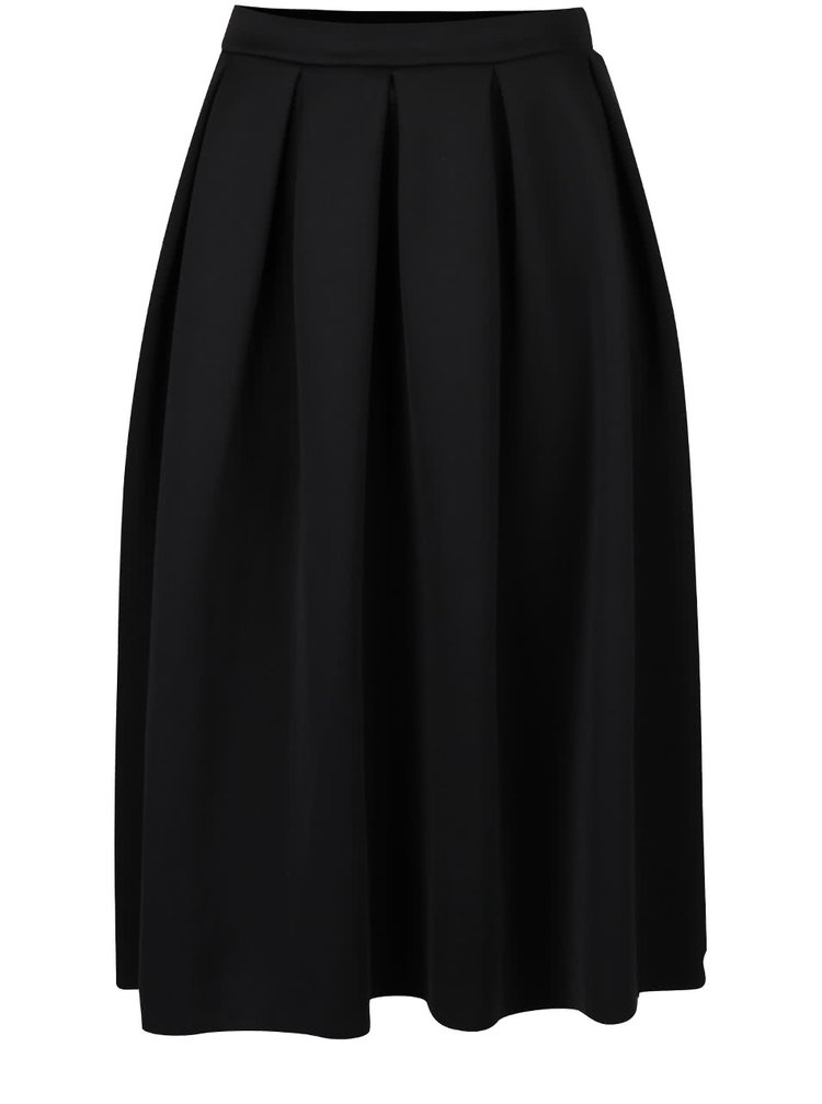 Černá překládaná sukně s pružným pasem Dorothy Perkins