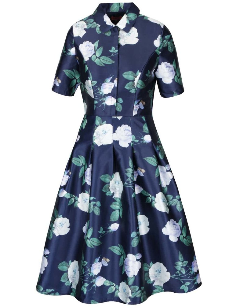 Tmavě modré květované midi šaty s límečkem Chi Chi London
