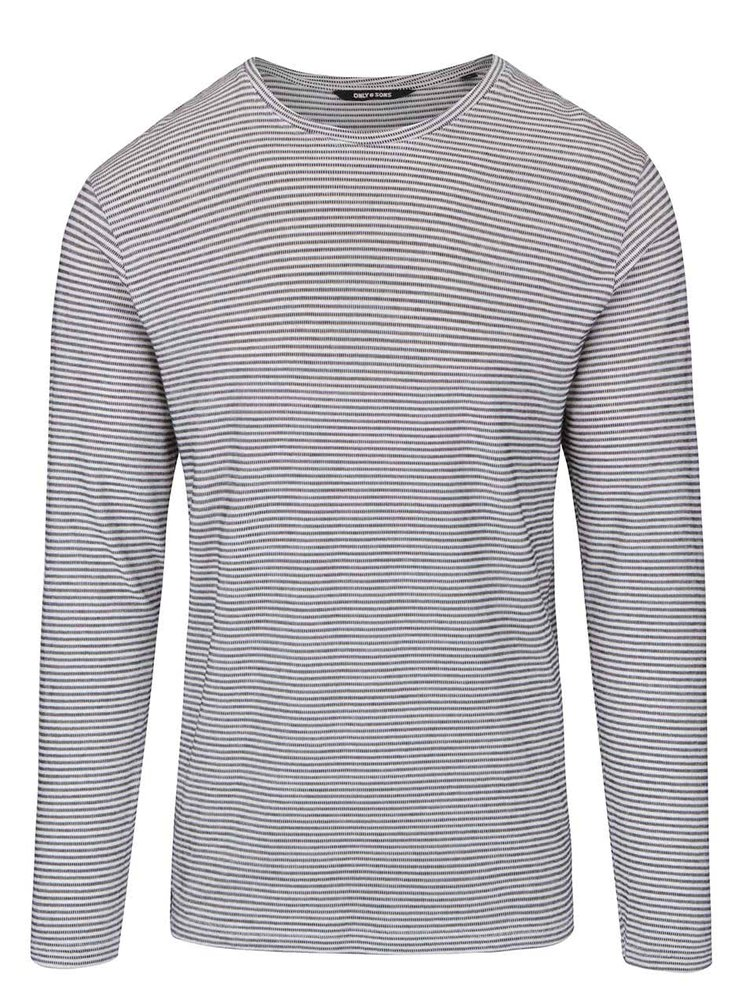 Bluză crem & negru ONLY & SONS Aron din bumbac cu model în dungi