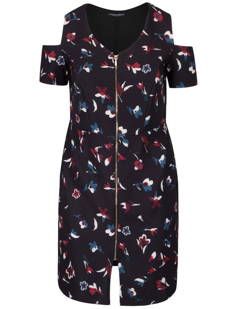 Tmavě modré květované šaty s průstřihy na ramenou Dorothy Perkins Curve