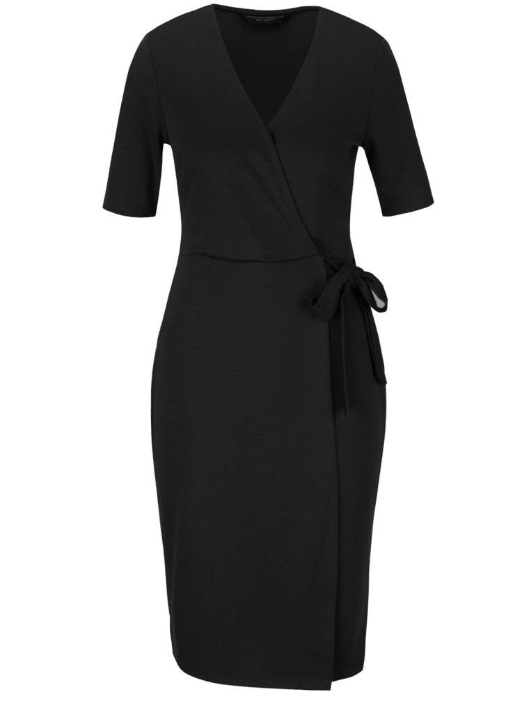 Černé překládané šaty se zavazováním v pase Dorothy Perkins