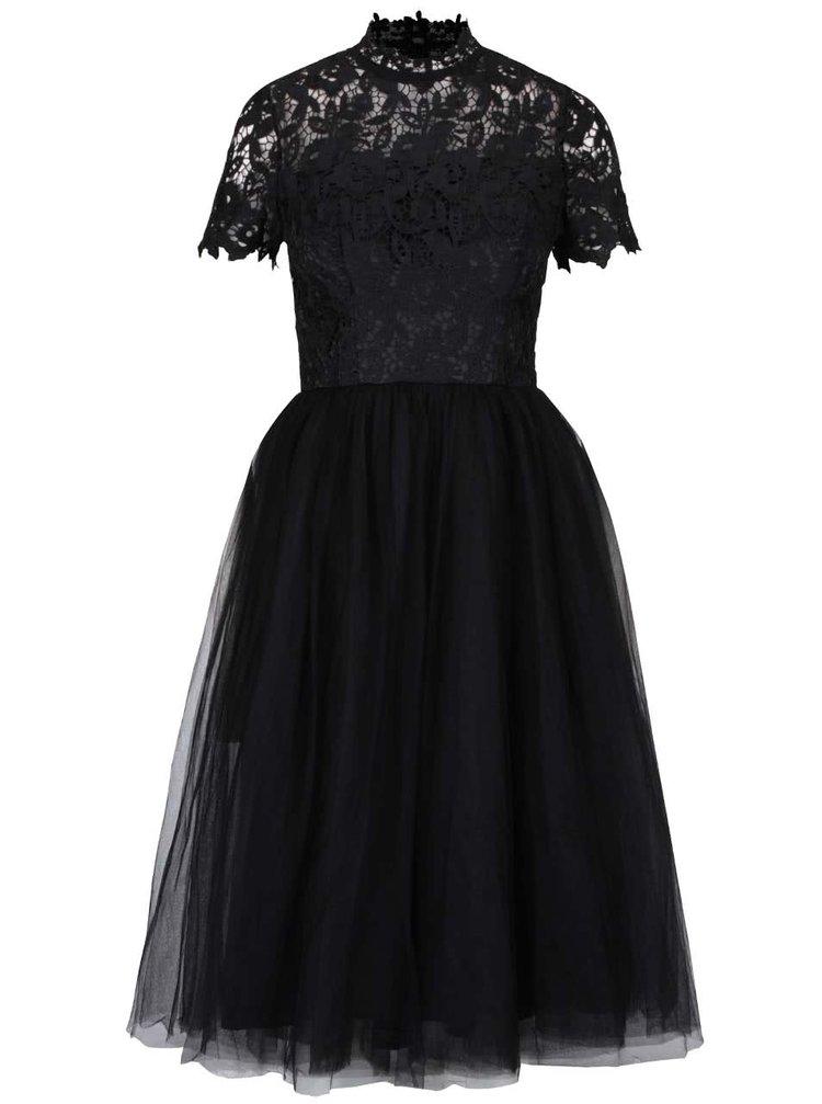 Černé šaty s krajkovým topem a se stojáčkem Chi Chi London Bronte