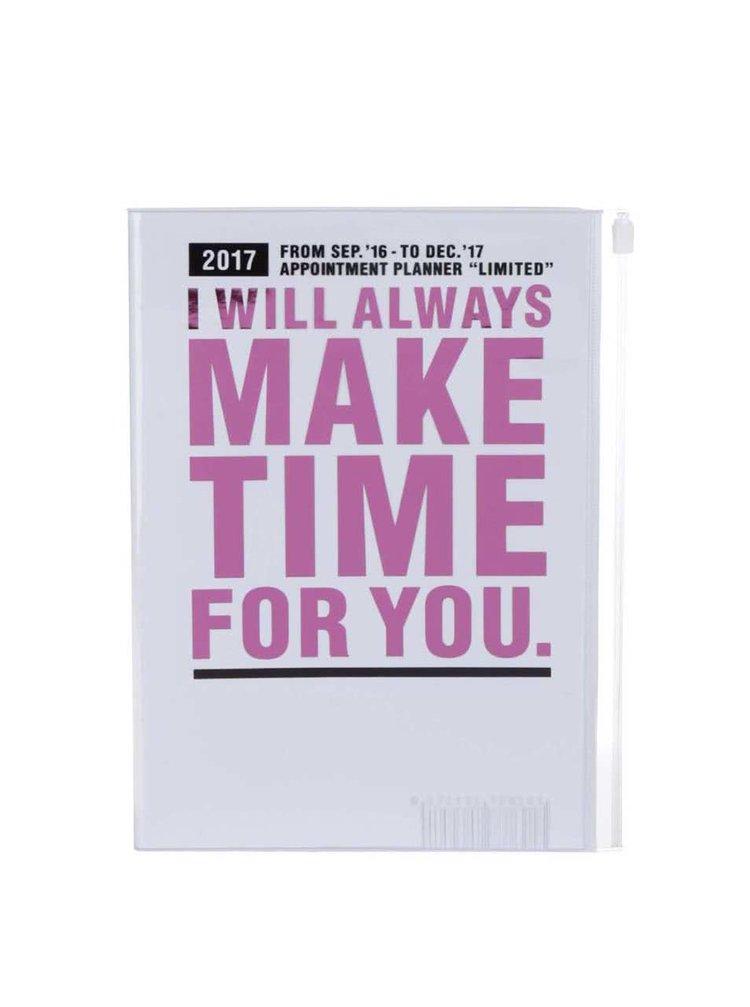 Růžovo-bílý diář 2017 A5 Mark's MAKE TIME