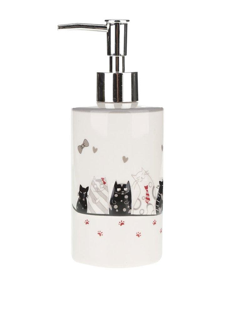 Krémový keramický dávkovač na mydlo s motívom mačiek Dakls