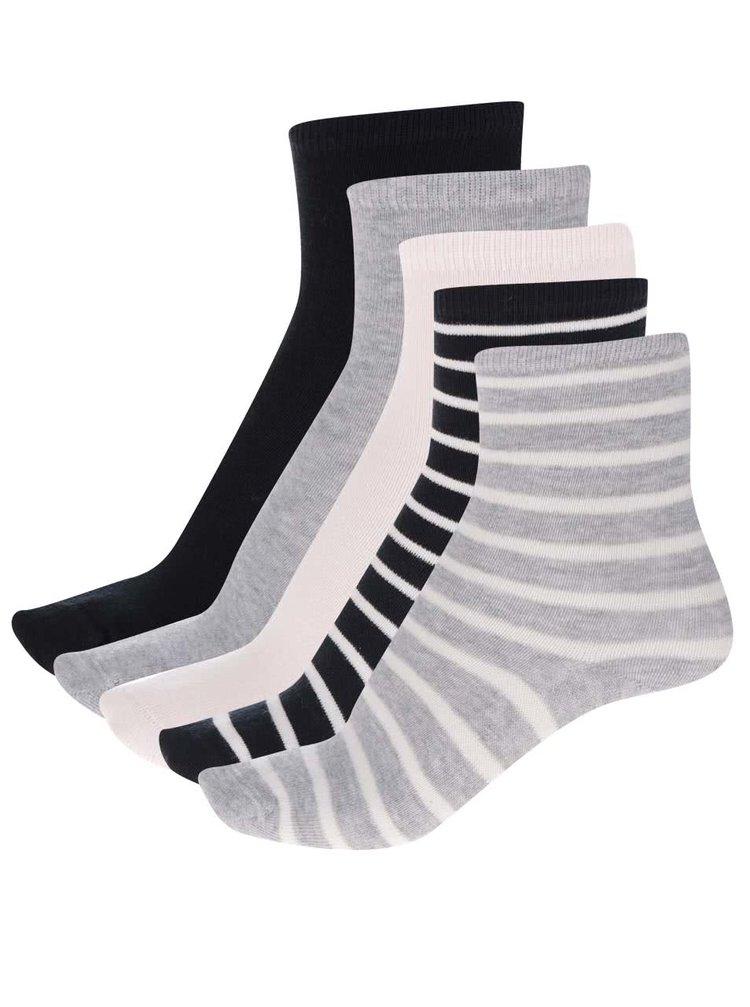 Sada pěti párů holčičích ponožek v šedé a černé barvě name it