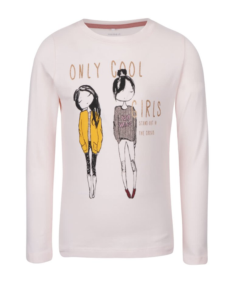 Světle růžové holčičí tričko s dlouhým rukávem a potiskem name it Katty