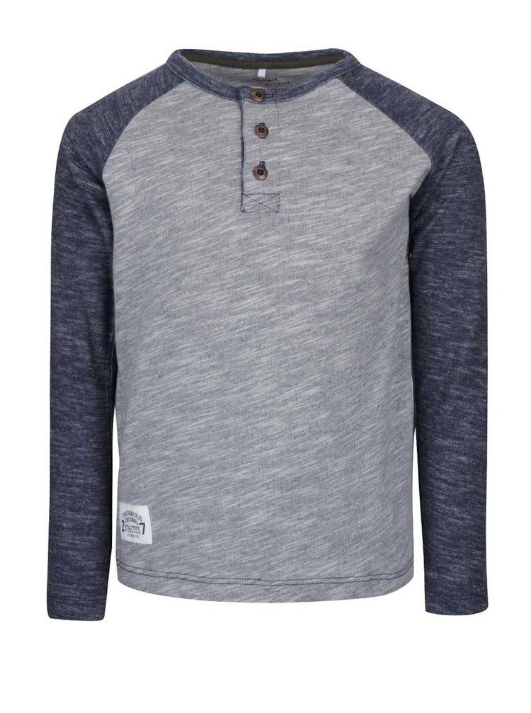 Bluză gri & albastru name it Lintage cu model discret pentru băieți