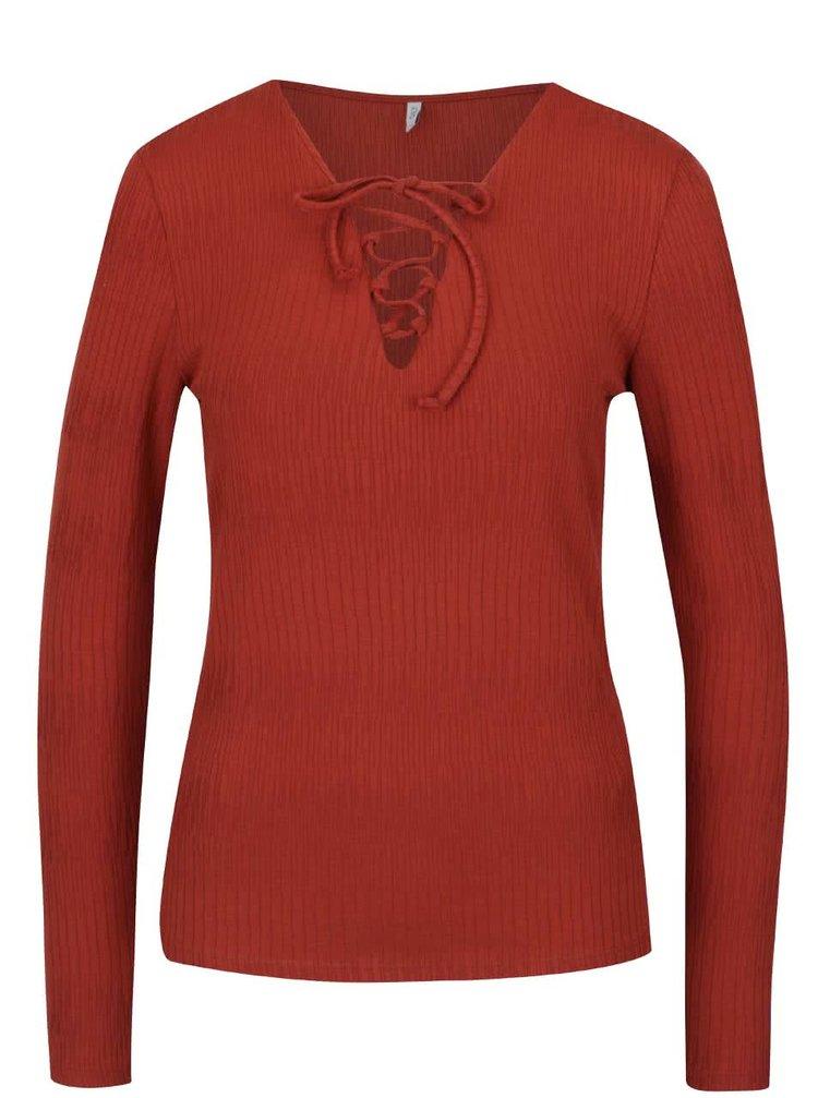 Bluză roșie ONLY Hanna cu șireturi