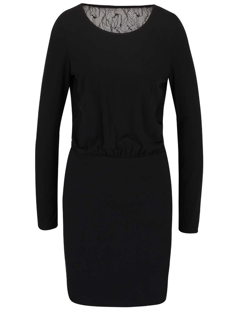 Rochie neagră VILA Silia cu dantelă