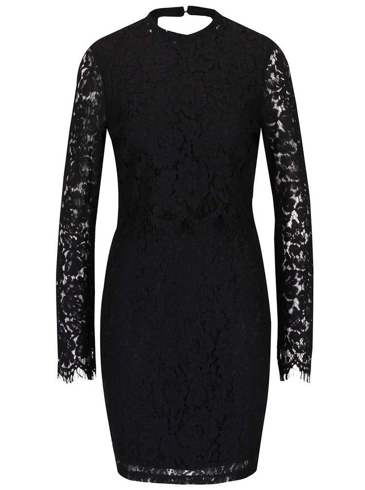 Černé krajkové šaty s dlouhým rukávem a výstřihem na zádech VILA Leicka