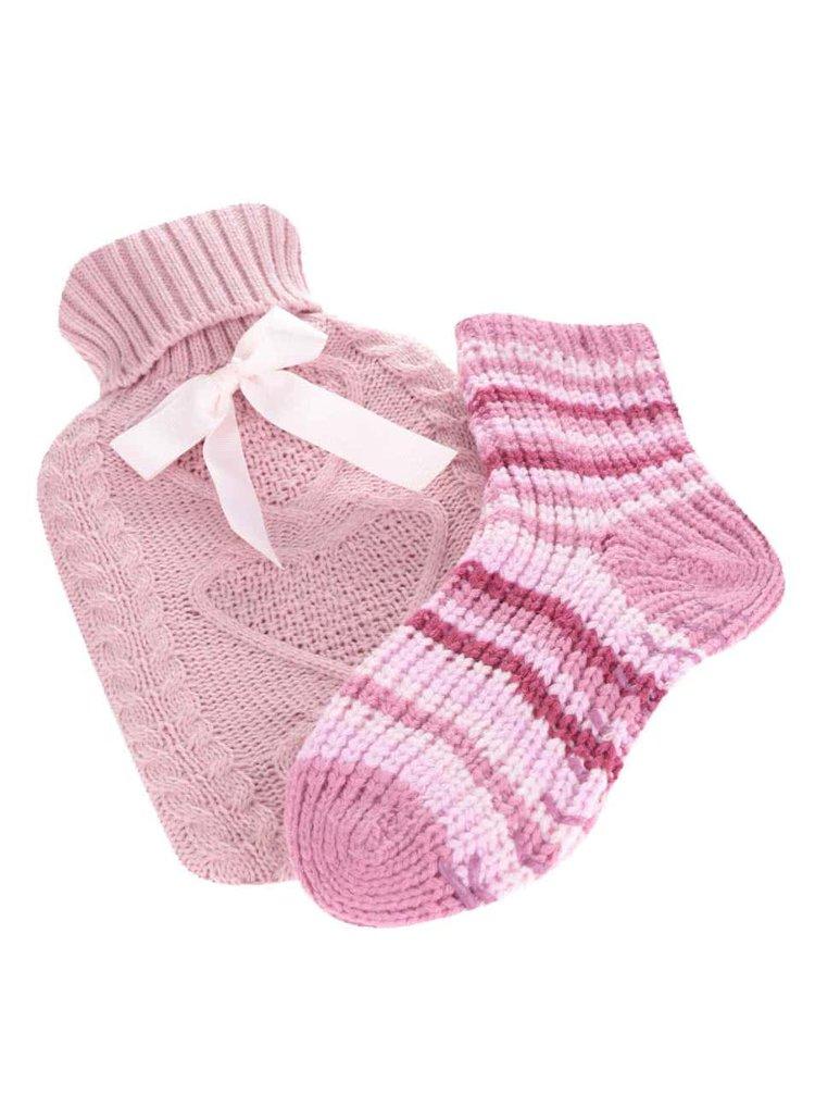 Súprava ružovej hrejivej fľaše na vodu a pletených ponožiek Something Special
