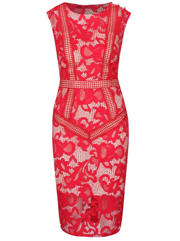 Rochie roșie fără mâneci Little Mistress din dantelă