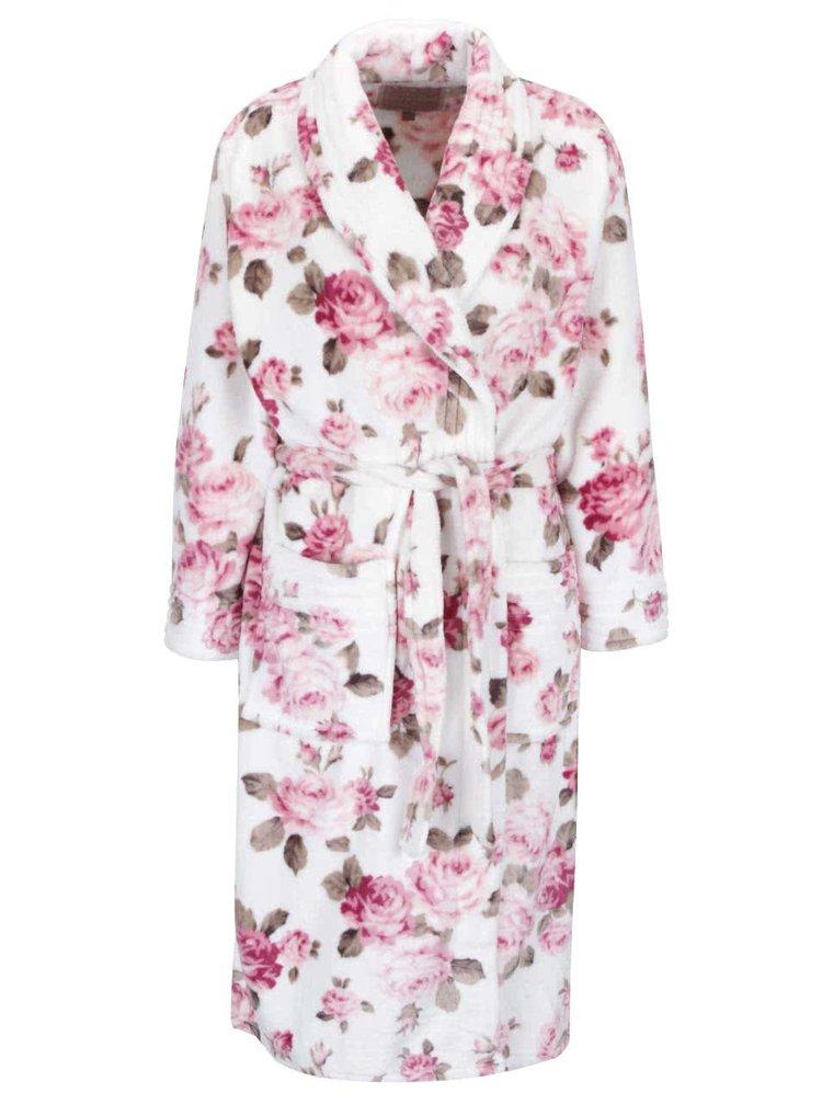 Růžovo-krémový dámský květovaný župan Something Special