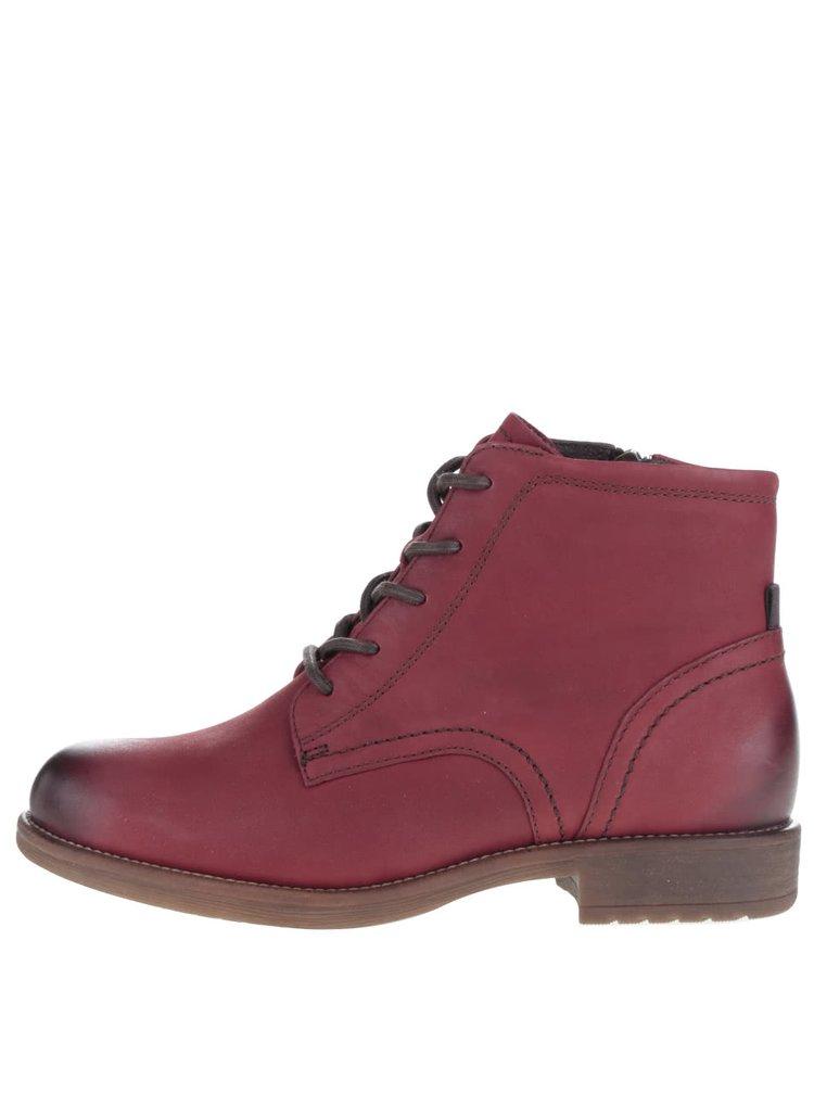 Červené kožené kotníkové boty s tkaničkami Tamaris
