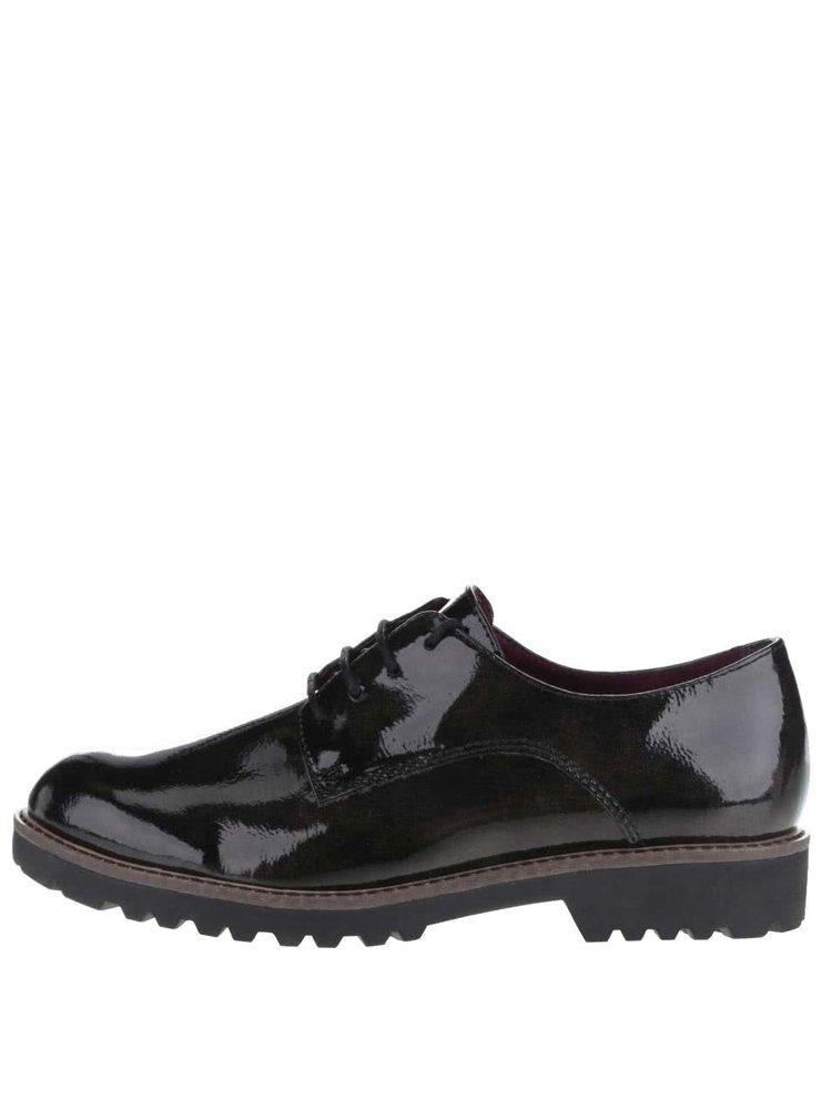 Pantofi negri cu aspect lucios Tamaris