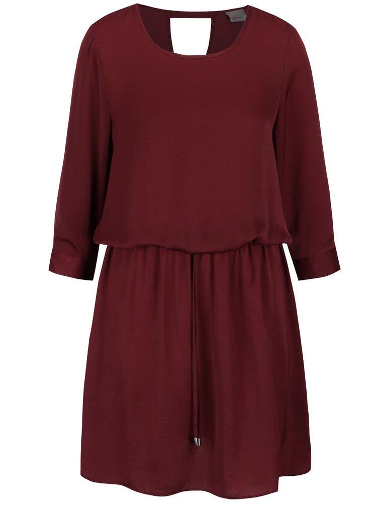 Vínové volnější šaty s 3/4 rukávy VERO MODA Abby