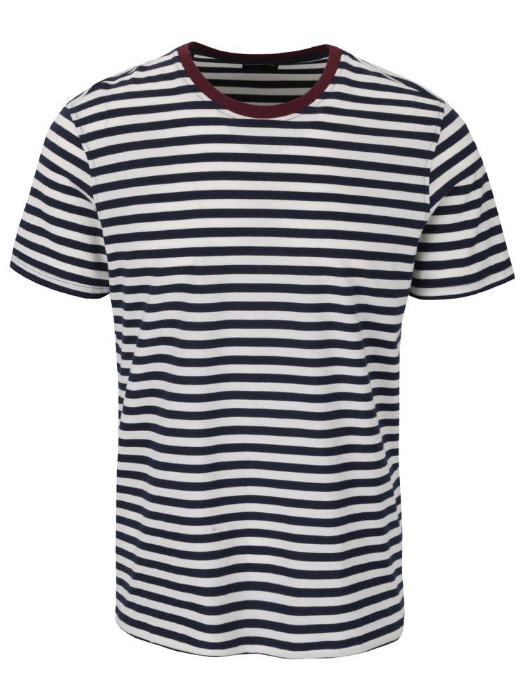 Modro-krémové pruhované triko Selected Homme