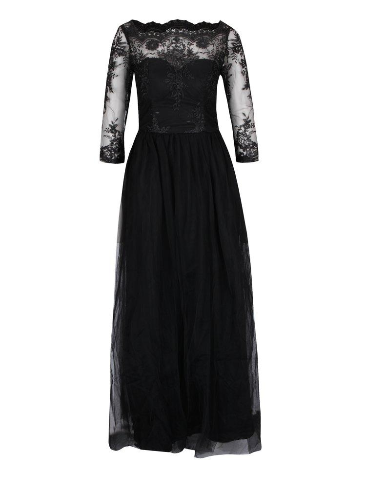 Černé dlouhé večerní šaty s krajkovým topem  Chi Chi London