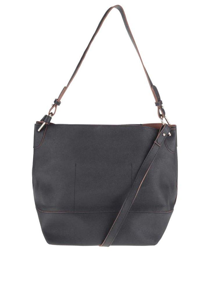 Čierna koženková kabelka Pieces Pilla Bucket
