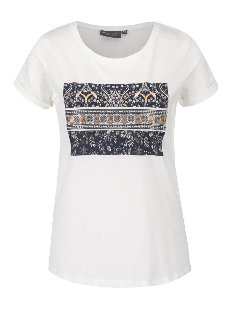 Krémové dámské tričko s potiskem Broadway Ravinia